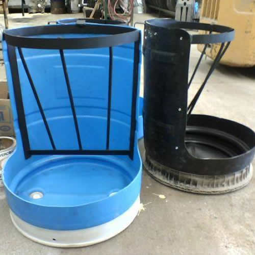 Comedero 100 litros hecho con medio tanque blanco tankes for Tanque hidroneumatico 100 litros